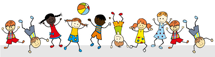 Illustrated children playing